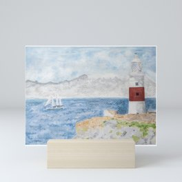 Trinity Lighthouse,Gibraltar. Watercolor print Mini Art Print