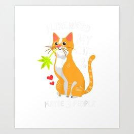 420 Weed Cat Pot Kitten Cannabis Leaf Shirt Art Gift Women Art Print