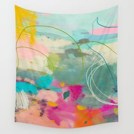 mixed abstract brush color study art 1 Wall Tapestry