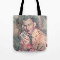 frank sinatra Tote Bags featuring Frank Sinatra by Nechifor Ionut
