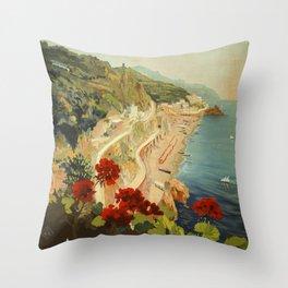 Vintage Travel Ad Amalfi Italy Throw Pillow