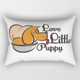 """""""Love Little Puppy"""" dog in a pot Rectangular Pillow"""