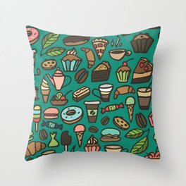 Coffee and pastry  Throw Pillow