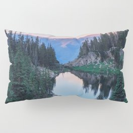 Hikers Bliss Perfect Scenic Nature View \ Mountain Lake Sunset Beautiful Backpacking Landscape Photo Pillow Sham