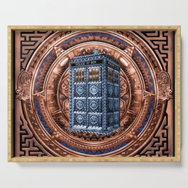 Aztec Tardis Doctor Who Full Color Pencils Sketch Serving Tray