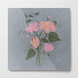 Spring Bouquet 2, Blue-Grey Background Metal Print