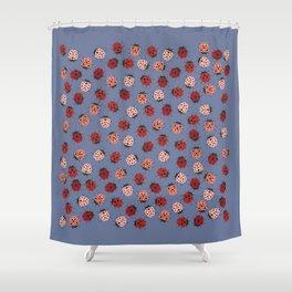 All over Modern Ladybug on Plum Background Shower Curtain
