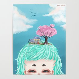 Spring Day - Sweet Little Girl with House and Cherry Blossom Tree Poster