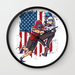 Two Football Player In Action Wall Clock