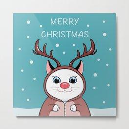 Reindeer Cat Metal Print