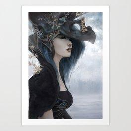 Bluish Black - Mysterious fantasy mage girl portrait Art Print