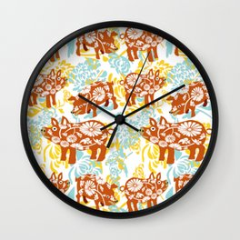 The Year of The Pig with Chysanthemums Wall Clock