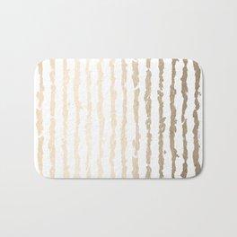 White Gold Sands Vertical Ink Stripes Bath Mat