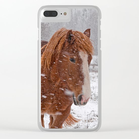 Horse in the snow Clear iPhone Case