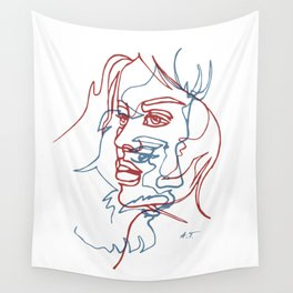 Two faces, continuous line Wall Tapestry