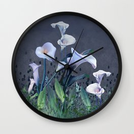 Midnight Calla Lily Garden Wall Clock