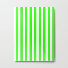 Narrow Vertical Stripes - White and Neon Green Metal Print