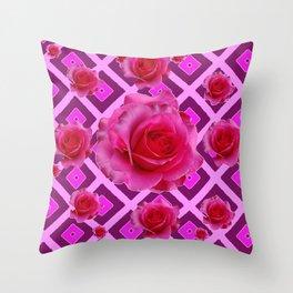 Burgundy Purple Fuchsia Pink Roses  Patterns Throw Pillow