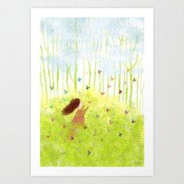 Catch the butterflies Art Print