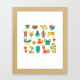 Colorful monster pattern Framed Art Print