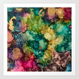 Relaxed Kitten Art Print