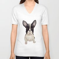 frenchie V-neck T-shirts featuring Frenchie  by craftberrybush