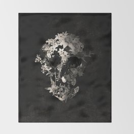 Spring Skull Monochrome Throw Blanket