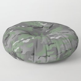 Camouflage: Arctic Green and Grey Floor Pillow