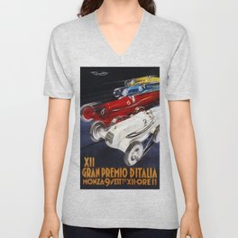 1934 12th Italian Grand Prix Grand Premio d'Italia Monza Plinio Codognato Vintage Poster Unisex V-Neck