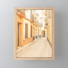 Seville I [ Andalusia, Spain ] Yellow spanish street⎪Colorful travel photography Poster Framed Mini Art Print