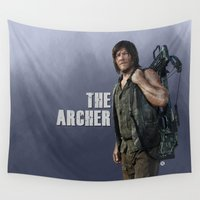 archer Wall Tapestries featuring The Archer (Purple Version) by Valerie Canizales