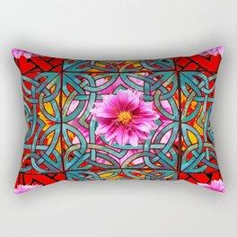 Red & Aqua Fuchsia Dahlias Inter-twining Art Nouveau Rectangular Pillow