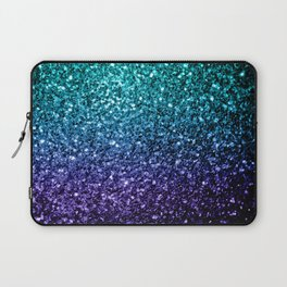 Beautiful Aqua blue Ombre glitter sparkles Laptop Sleeve