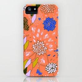 Orange Flower Pattern iPhone Case
