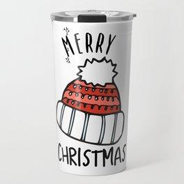 Merry christmas pompon cap with garlands Travel Mug