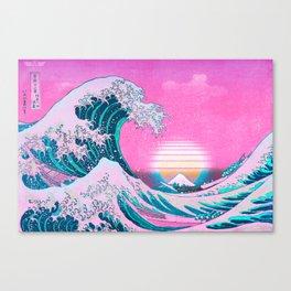 Vaporwave Aesthetic Great Wave Off Kanagawa Canvas Print