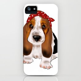 Retro style cute basset hound baby dog with bow headband.Dog lovers gift idea iPhone Case