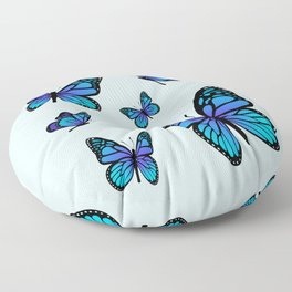 Butterfly Blues | Blue Morpho Butterflies Collage Floor Pillow