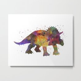 Triceratops dinosaur in watercolor Metal Print