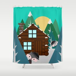 Winter cabin in the woods Shower Curtain