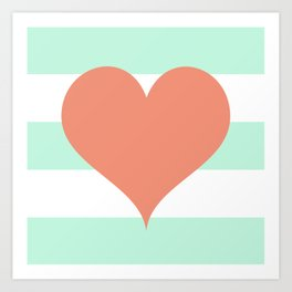 Large Heart on Stripes in Coral and Mint Art Print