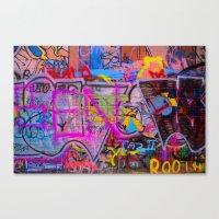 grafitti Canvas Prints featuring Bright Grafitti by davehare