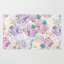 Pastel Purple and blue Lilac & Hydrangea - Flower Design Rug
