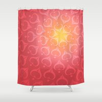 calligraphy Shower Curtains featuring Calligraphy: Love  by Joumana Medlej