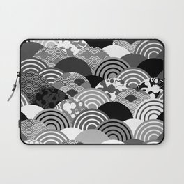 Nature background with japanese sakura flower, Cherry, wave circle Black gray white colors Laptop Sleeve
