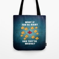 fargo Tote Bags featuring Fargo Fish by D-fens