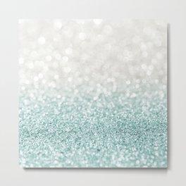 Mint Ombre Glitter Metal Print