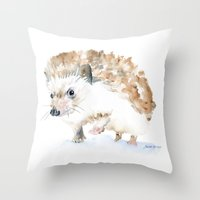 hedgehog Throw Pillows featuring Hedgehog by Susan Windsor