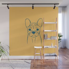 French Bulldog (Warm Yellow and Blue) Wall Mural