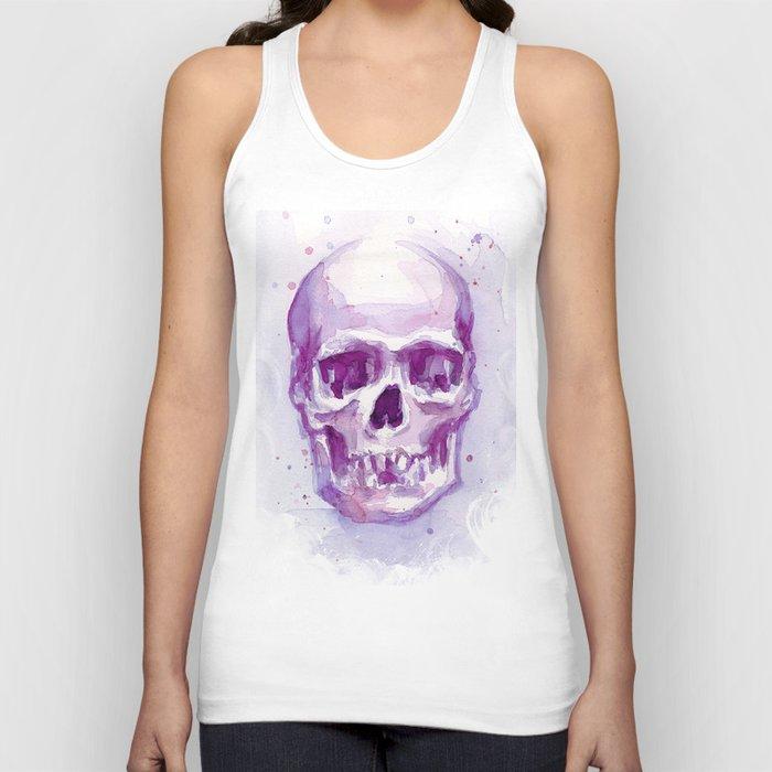 Pink Skull Watercolor Purple Abstract Unisex Tank Top